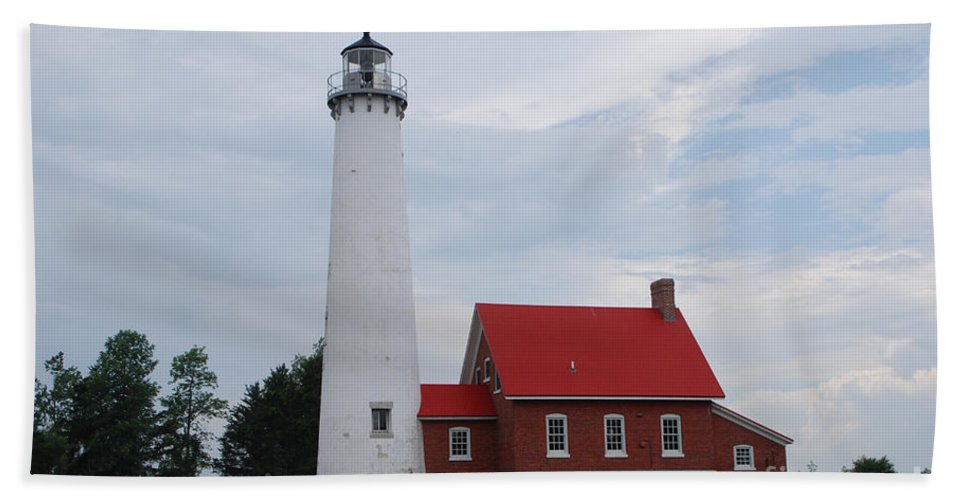 Lighthouse Beach Towel featuring the photograph Tawas Point Lighthouse by Grace Grogan