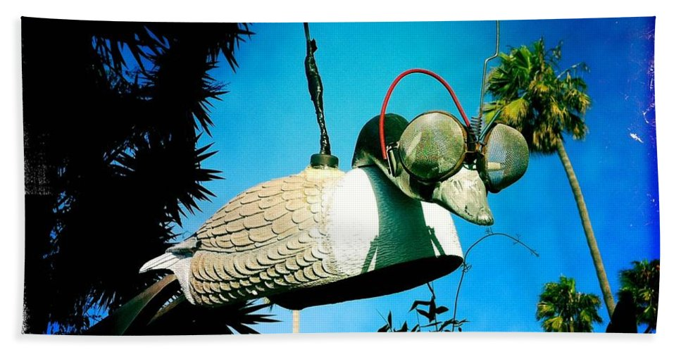 Bird Beach Towel featuring the photograph Tea Strainer Duck by Nina Prommer