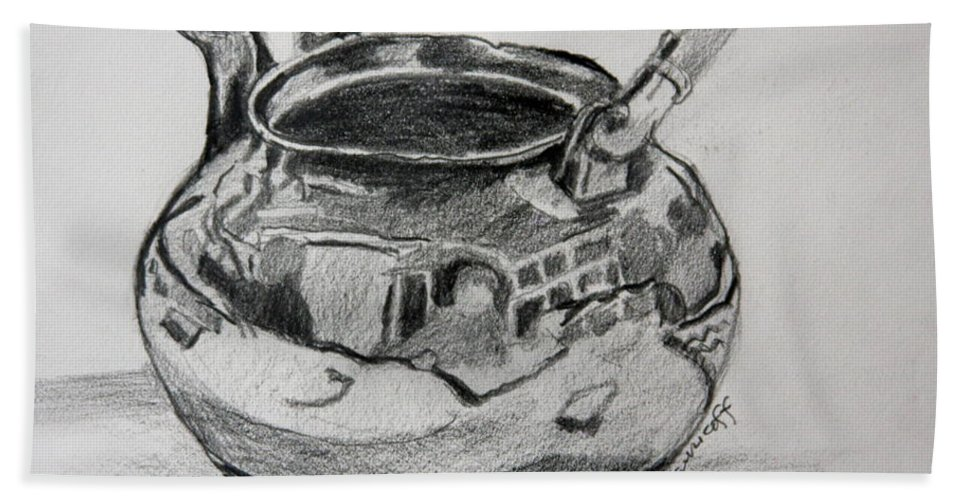 Drawing Beach Towel featuring the drawing Teapot Reflections by Jan Bennicoff