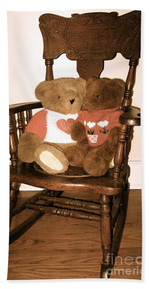 Oak Rocking Chair Beach Towel featuring the photograph Teddy Bear Hug  by Nancy Patterson