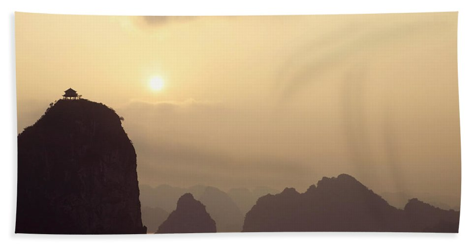Asia Beach Towel featuring the photograph Temple At Sunset In Halong Bay by Skip Nall