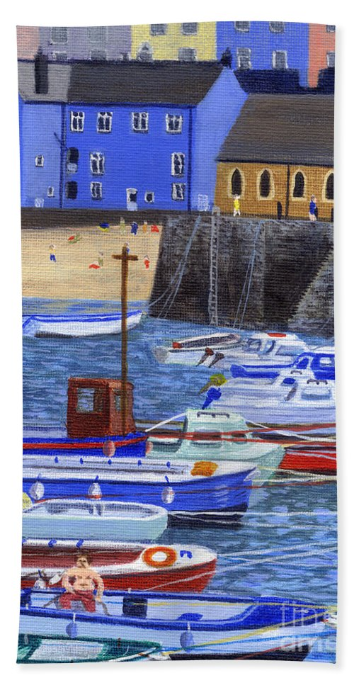Painting Tenby Harbour With Boats Beach Towel featuring the painting Painting Tenby Harbour With Boats by Edward McNaught-Davis