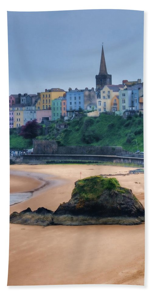 Tenby Beach Towel featuring the photograph Tenby Over North Beach Painted by Steve Purnell