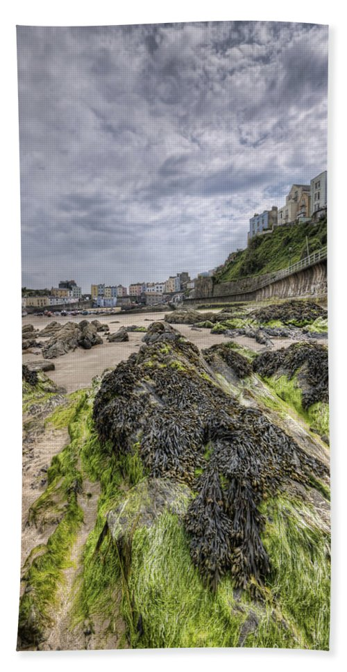 Tenby Pembrokeshire Beach Towel featuring the photograph Tenby Rocks 3 by Steve Purnell