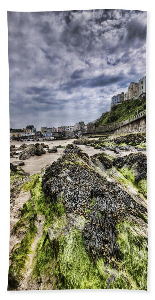 Tenby Pembrokeshire Beach Towel featuring the photograph Tenby Rocks 4 by Steve Purnell