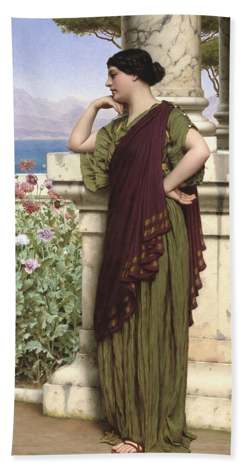 Tender Thoughts Beach Towel featuring the painting Tender Thoughts by John William Godward