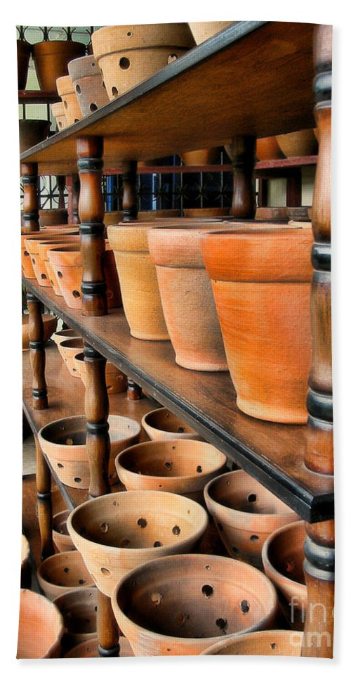 Pots Beach Towel featuring the photograph Terracotta Ranks by Julia Springer