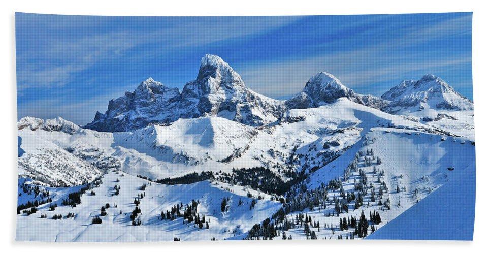 Grand Teton National Park Beach Towel featuring the photograph Teton Winter by Greg Norrell