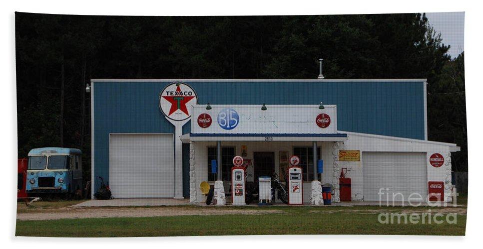 Texaco Beach Towel featuring the photograph Texaco Gas Station by Grace Grogan