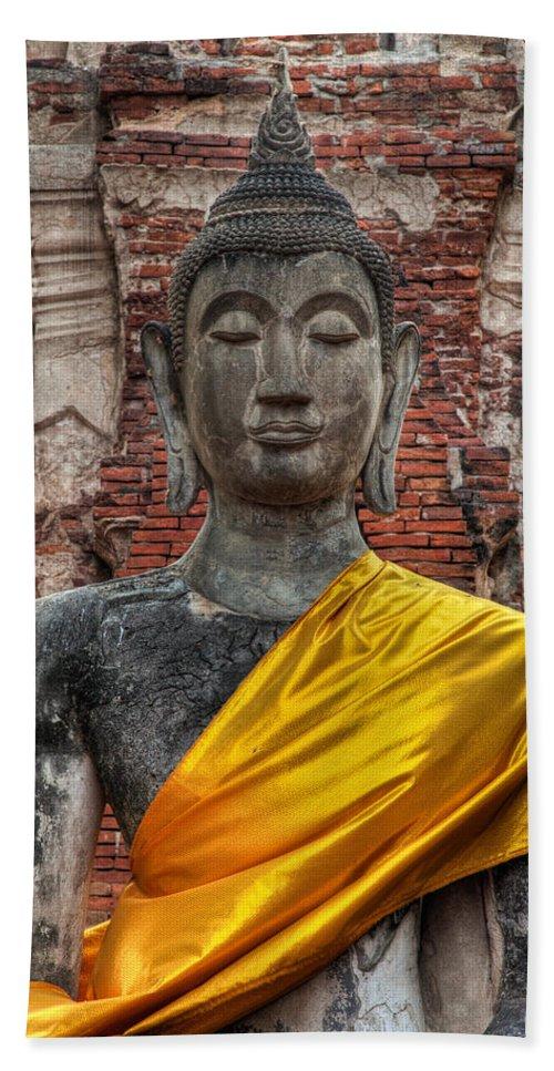 Temple Beach Towel featuring the photograph Thai Buddha by Adrian Evans