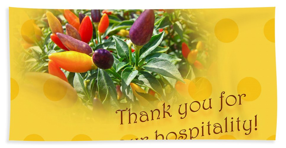 Thanks Beach Towel featuring the photograph Thank You For Your Hospitality Greeting Card - Decorative Pepper Plant by Mother Nature