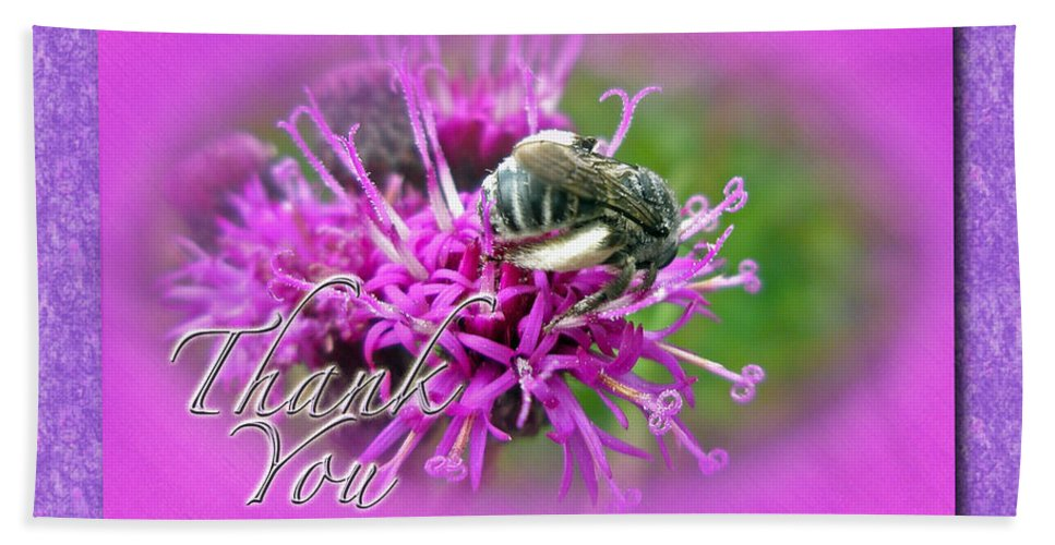 Thank You Beach Towel featuring the photograph Thank You Greeting Card - Bumblebee On Ironweed by Mother Nature