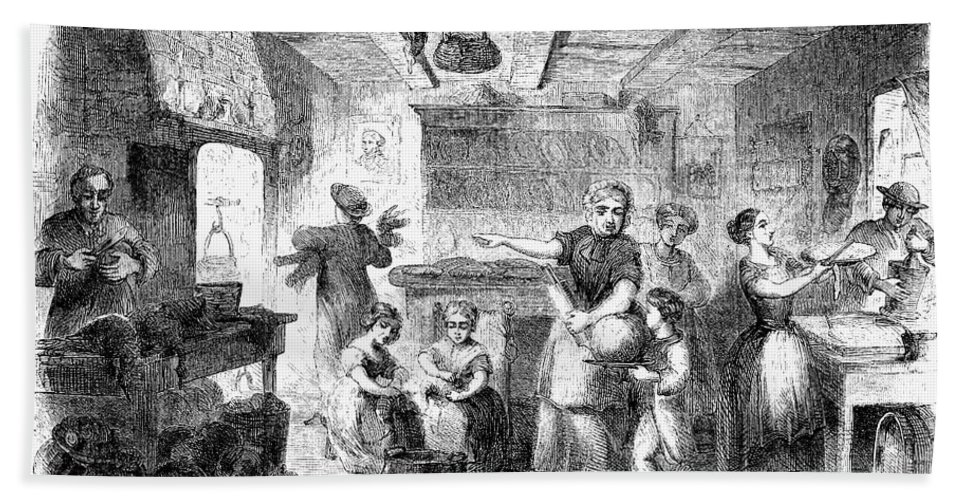 1855 Beach Towel featuring the photograph Thanksgiving, 1855 by Granger