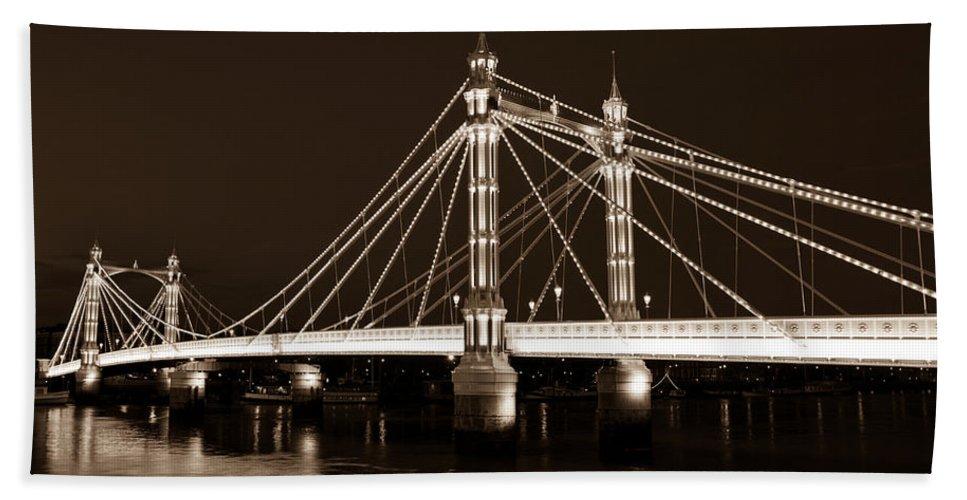Albert Bridge Beach Towel featuring the photograph The Albert Bridge London Sepia Toned by David Pyatt