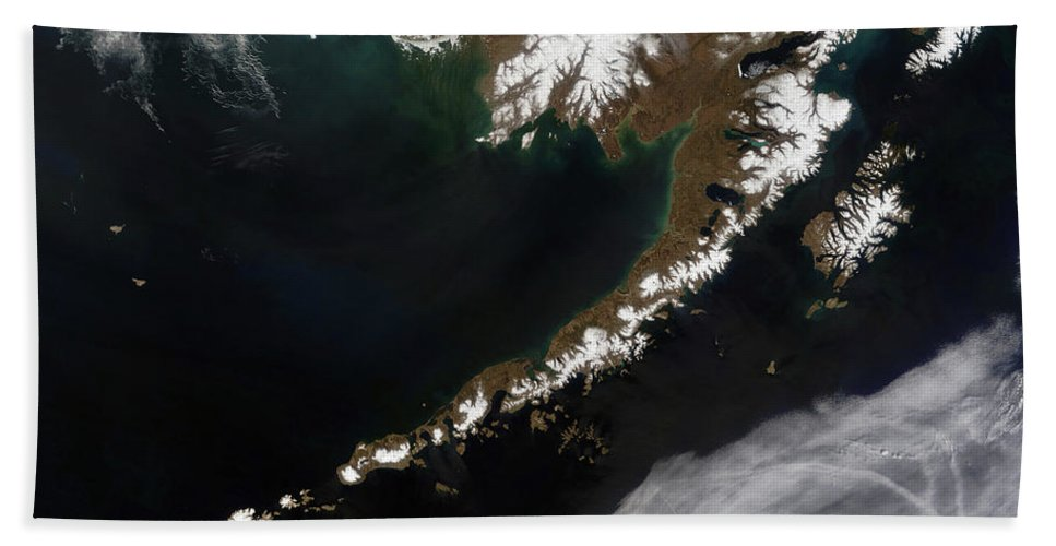 Color Image Beach Towel featuring the photograph The Aleutian Islands And The Alaskan by Stocktrek Images