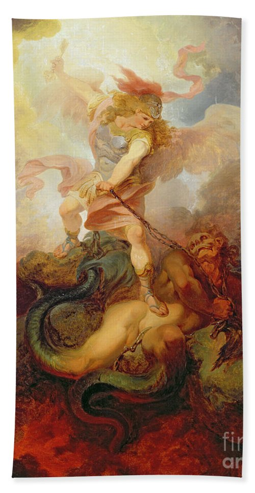 The Beach Towel featuring the painting The Angel Binding Satan by Philip James de Loutherbourg