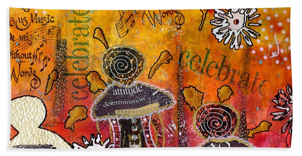 Acrylic Beach Towel featuring the mixed media The Angel Brigade - Cropped Version by Angela L Walker
