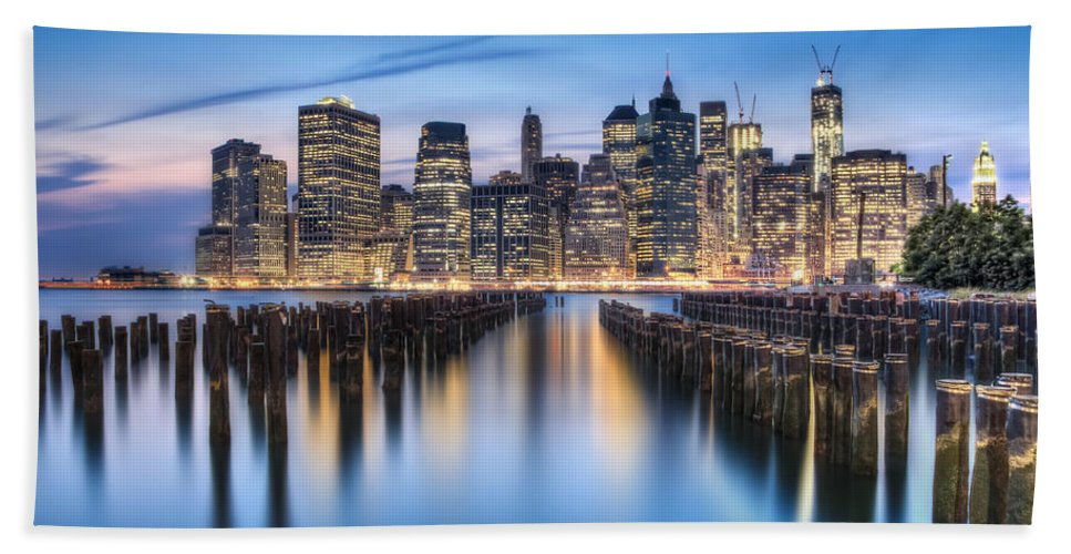 Manhattan Beach Towel featuring the photograph The Blue Hour by Evelina Kremsdorf