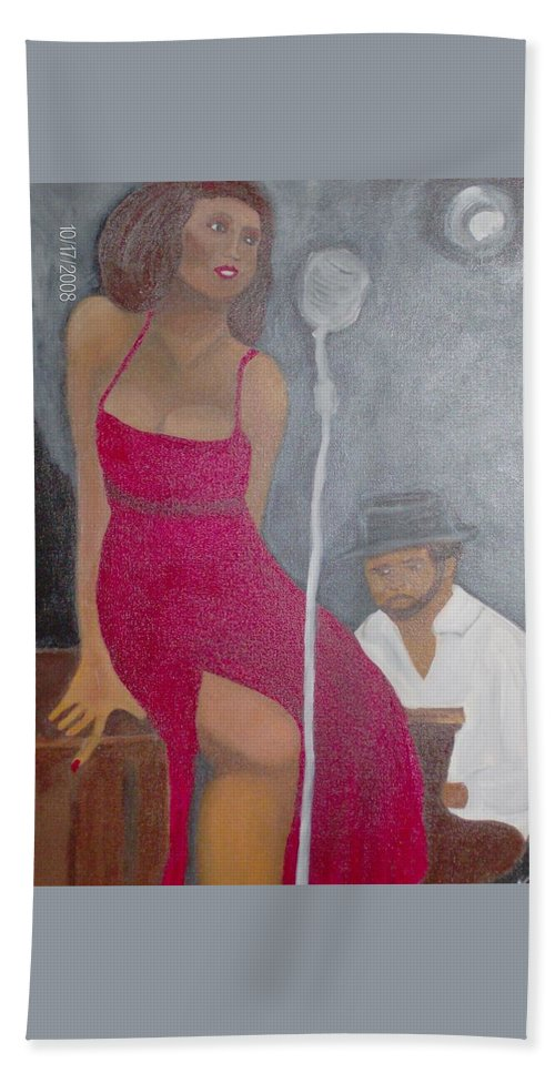 Lady Singer Blues With Piano Player. Beach Towel featuring the painting The Blues Singer by Katherine Green