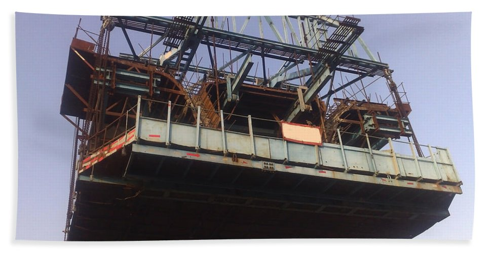 Construction Beach Towel featuring the photograph The Bridge Building Platform Being Used In The Construction Of The Delhi Metro by Ashish Agarwal
