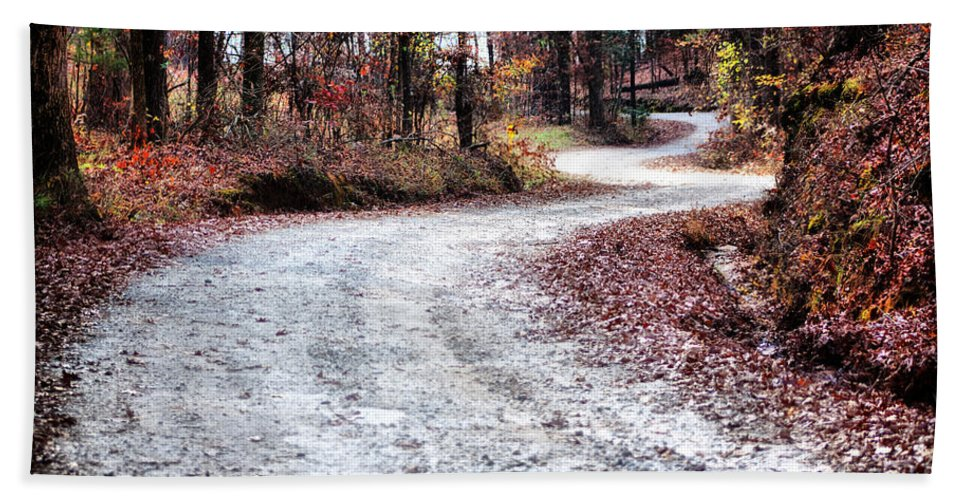 Gravel Beach Towel featuring the photograph The Broken Road by Lynne Jenkins