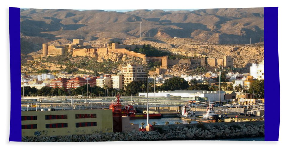 Black Sea Beach Towel featuring the photograph The Castle In Almeria Spain by Phyllis Kaltenbach