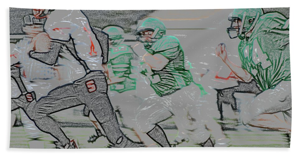 Digital Art Beach Towel featuring the digital art The Chase Is On Digital Art by Thomas Woolworth