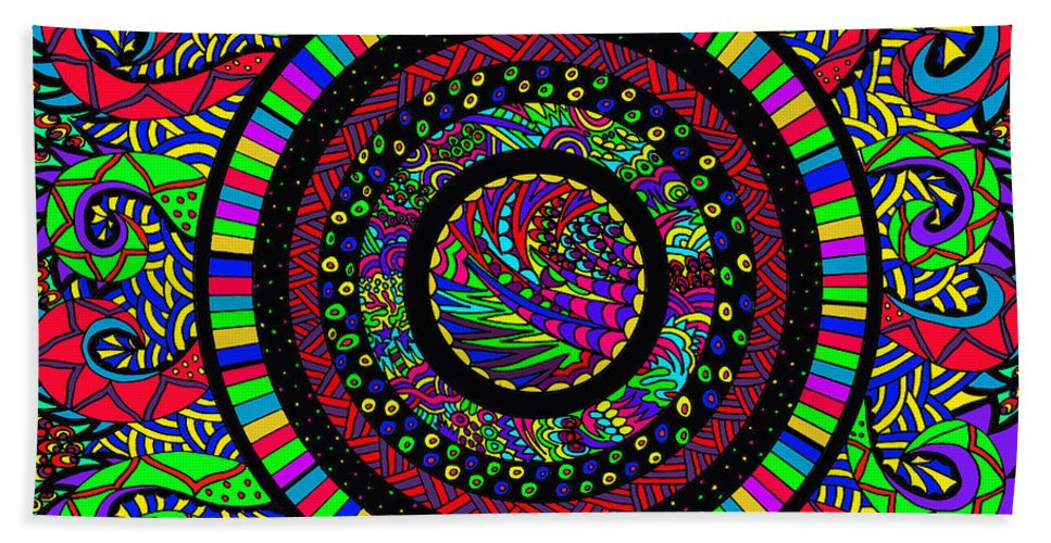 Doodles Beach Towel featuring the drawing The Circle by Karen Elzinga