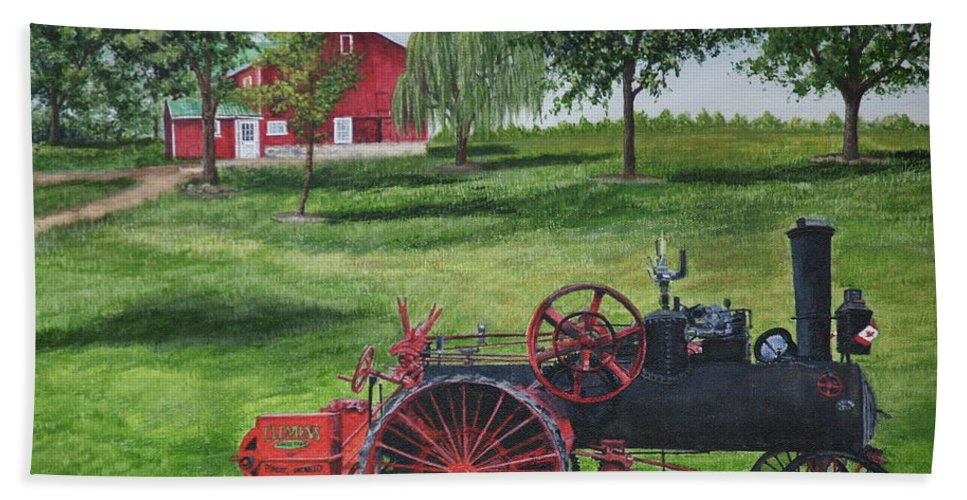 Farm Beach Towel featuring the painting The Clemens Farm by Vicky Path