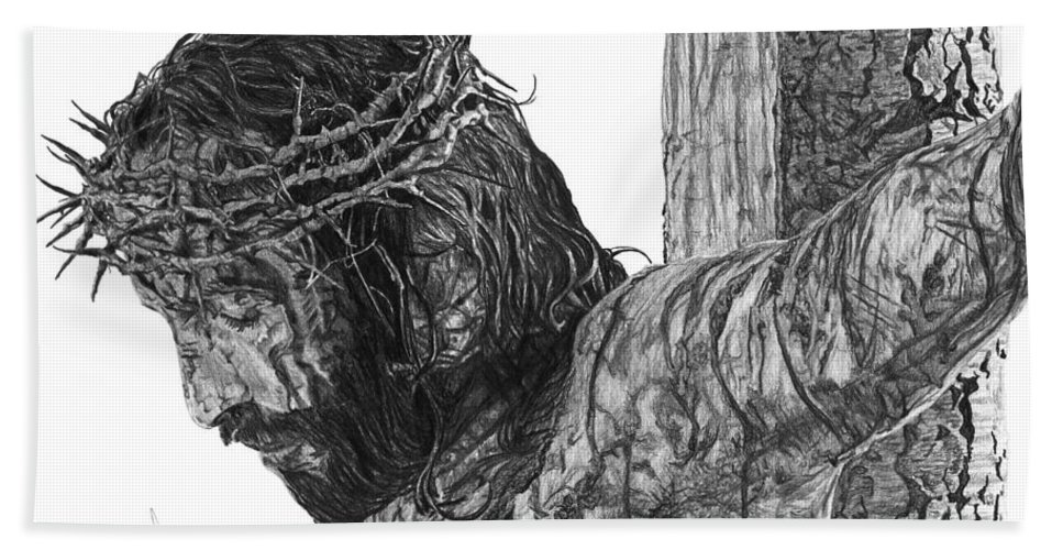 Pencil Beach Towel featuring the drawing The Cross by Bobby Shaw