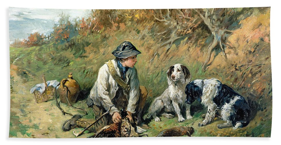 Pheasant; Rabbit; Hare; Gamekeeper; Bird; Shoot; Dog; Dogs; Game Keeper Beach Towel featuring the painting The Day's Bag by John Emms
