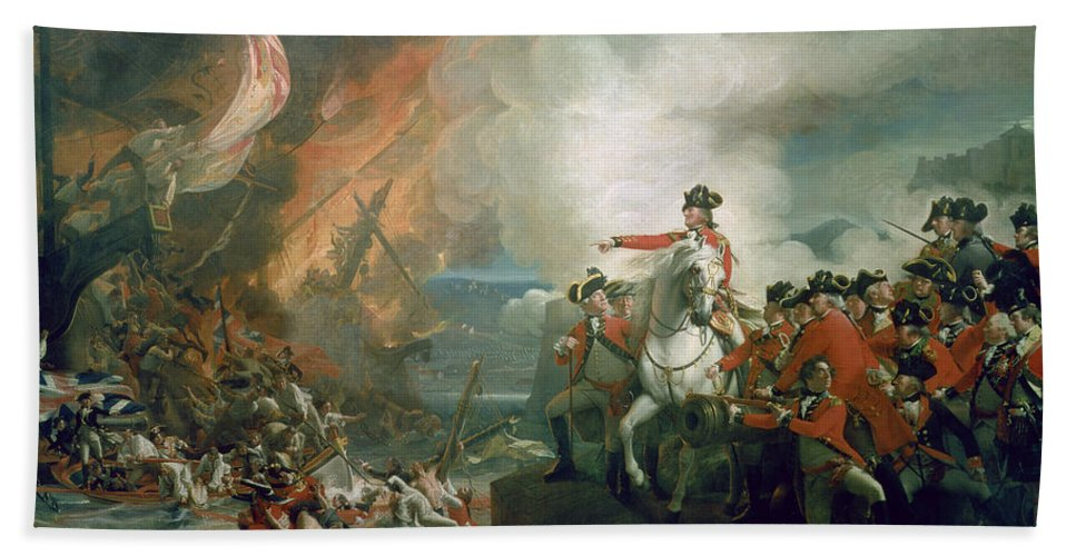 The Defeat Of The Floating Batteries At Gibraltar Beach Towel featuring the painting The Defeat Of The Floating Batteries At Gibraltar by John Singleton Copley