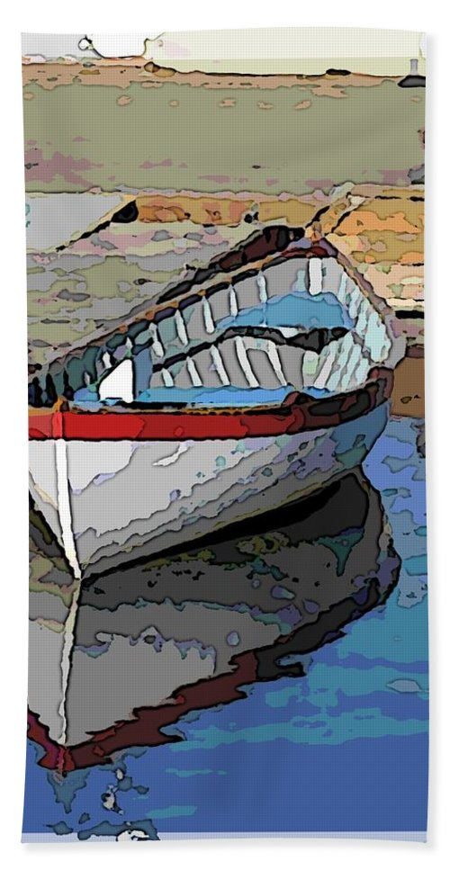 Dinghy Beach Towel featuring the digital art The Dinghy by Tim Allen