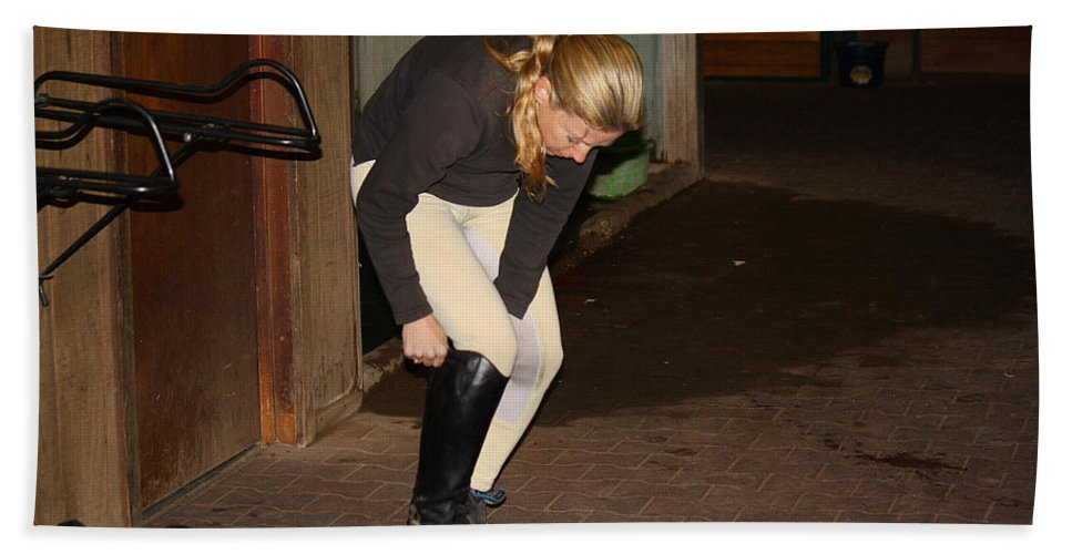 Roena King Beach Towel featuring the photograph The Dressage Boots by Roena King