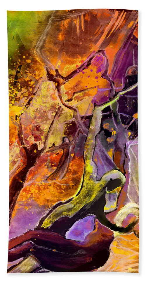 Watercolour Beach Towel featuring the painting The Fall by Miki De Goodaboom
