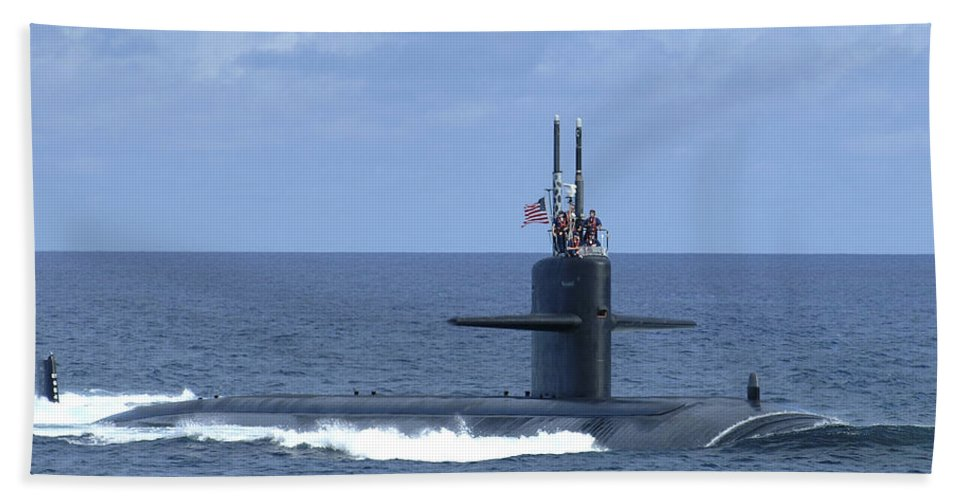 Horizontal Beach Towel featuring the photograph The Fast Attack Submarine Uss Salt Lake by Stocktrek Images