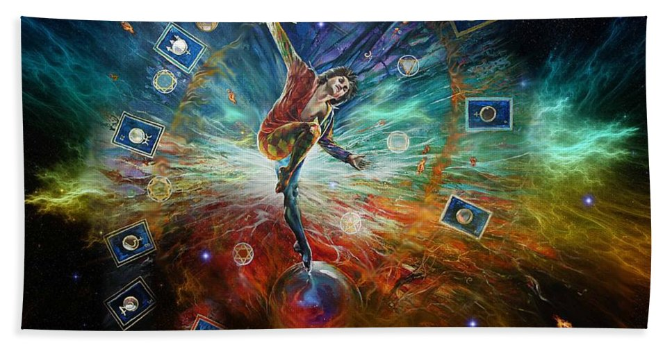 Fantasy Beach Towel featuring the painting The Fool by Penny Golledge