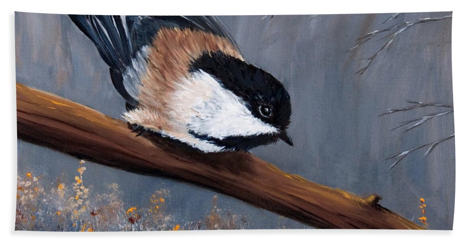 Chickadee Beach Towel featuring the painting The Gathering I by Dee Carpenter
