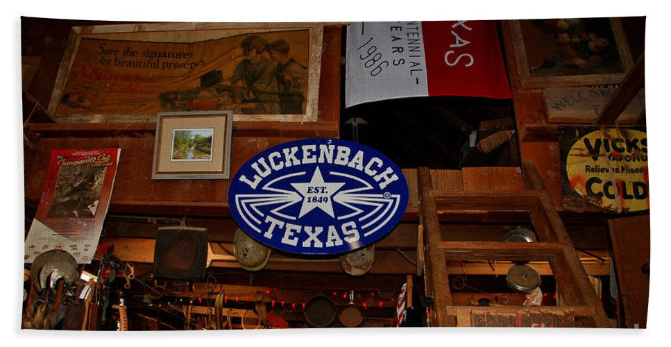 Luckenbach Beach Towel featuring the photograph The General Store In Luckenbach Tx by Susanne Van Hulst