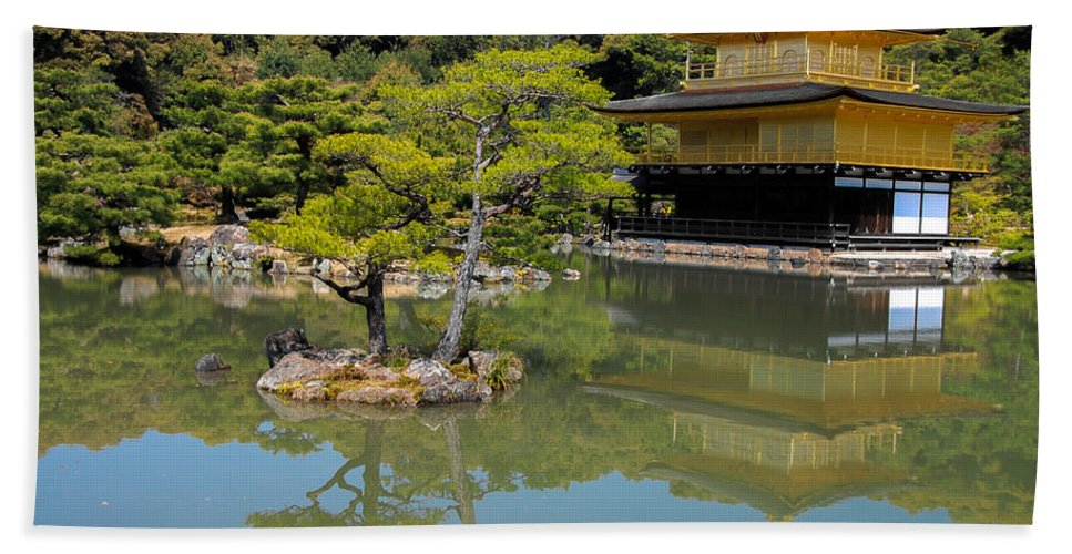 Architecture Beach Towel featuring the photograph The Golden Pavilion by Jonah Anderson