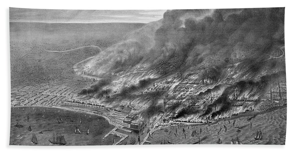 History Beach Towel featuring the photograph The Great Chicago Fire, 1871 by Photo Researchers
