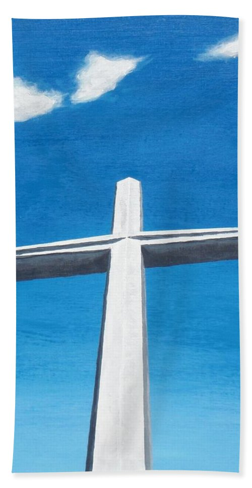Cross Beach Towel featuring the painting The Great Cross - Risen by Kelvin Kelley