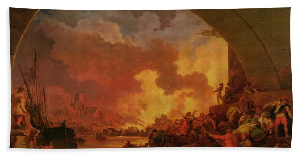 Xyc238428 Beach Towel featuring the photograph The Great Fire Of London by Philip James de Loutherbourg