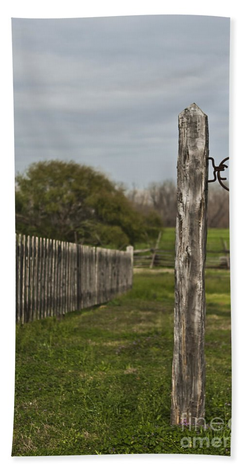 Historical Sites Beach Towel featuring the photograph The Hitching Post by Kim Henderson