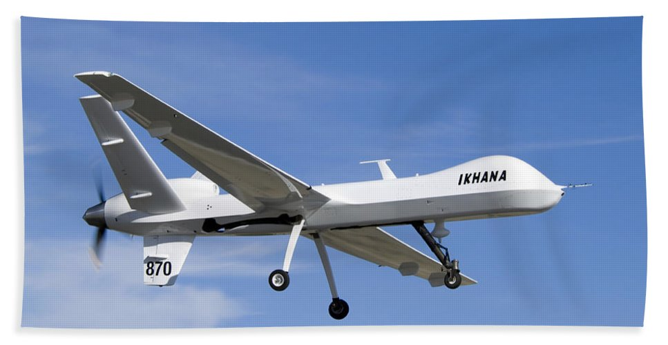 Aeronautics Beach Towel featuring the photograph The Ikhana Unmanned Aircraft by Stocktrek Images