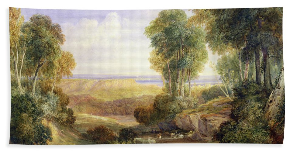 Xyc245530 Beach Towel featuring the photograph The Junction Of The Severn And The Wye With Chepstow In The Distance by David Cox