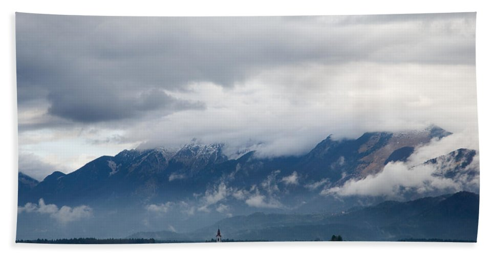 Brnik Beach Towel featuring the photograph The Kamnik Alps After A Storm by Ian Middleton