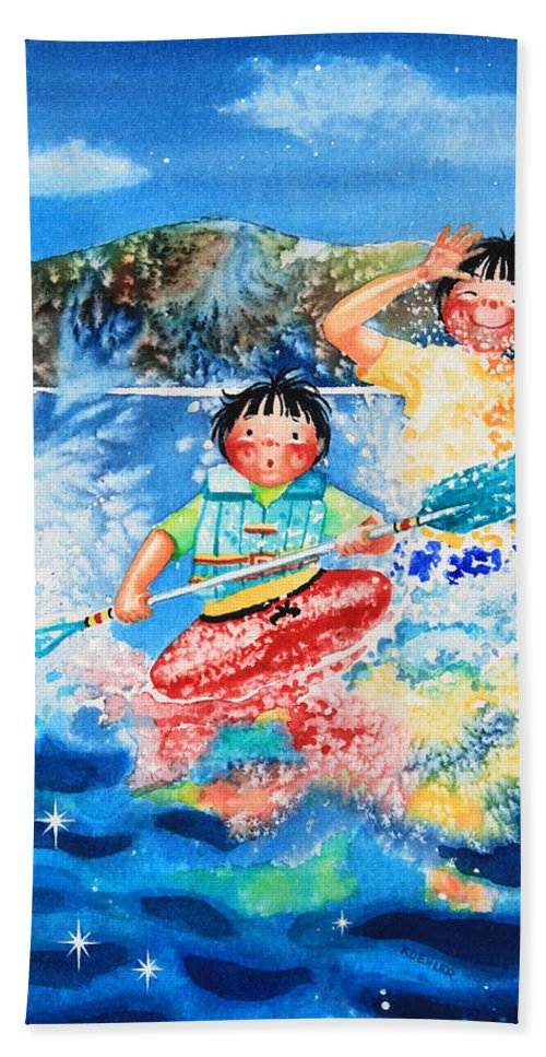 Olympic Dreams Story Beach Towel featuring the painting The Kayak Racer 7 by Hanne Lore Koehler