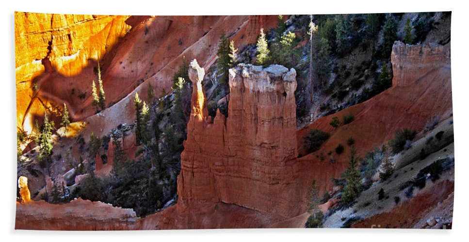 Rock Formations Beach Towel featuring the photograph The Lonely One by Robert Bales