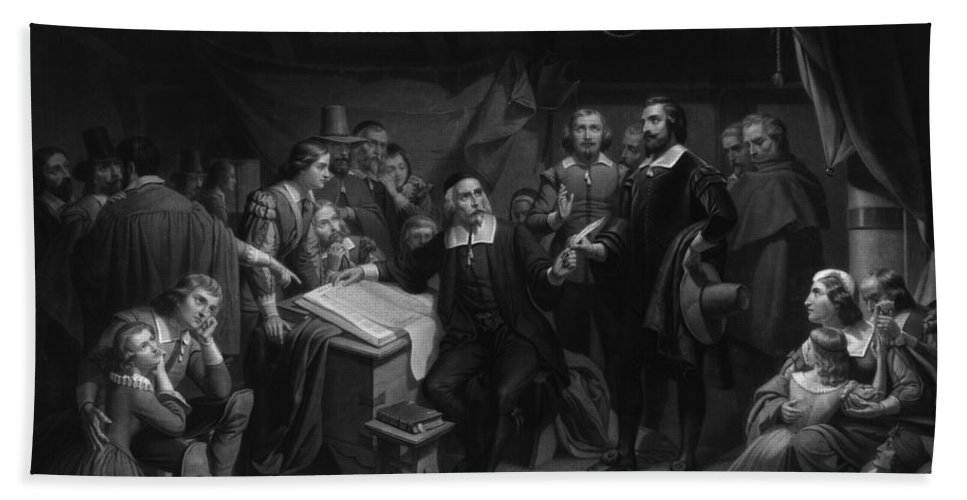 History Beach Towel featuring the photograph The Mayflower Compact, 1620 by Photo Researchers